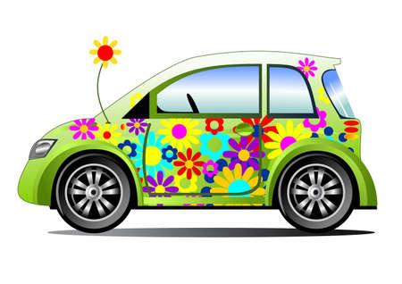 Ecology flower power car Illustration