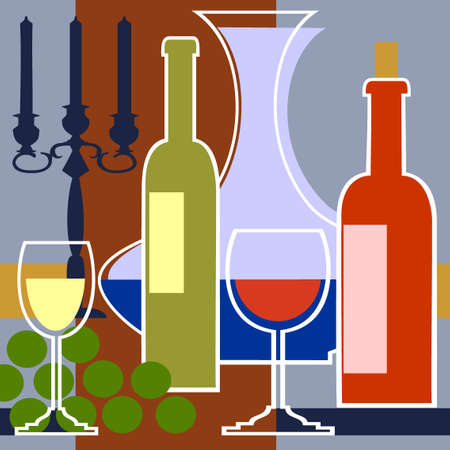 Candelabra with a red and white wine Vector