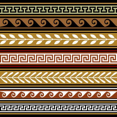 arte greca: Set di vettore geometrico frontiere Vettoriali
