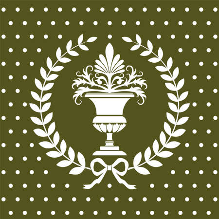 Antique flower vase in a laurel wreath pattern Illustration