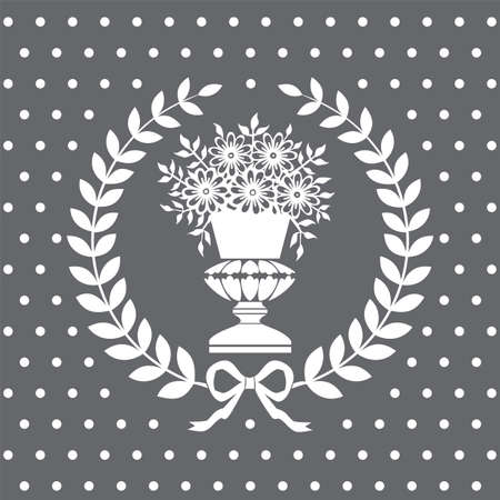 neoclassical: Antique vase in a laurel wreath, neoclassical pattern Illustration