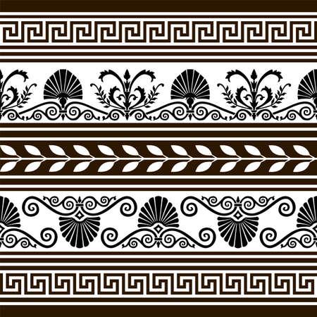 arte greca: Set di antichi elementi del vettore e frontiere