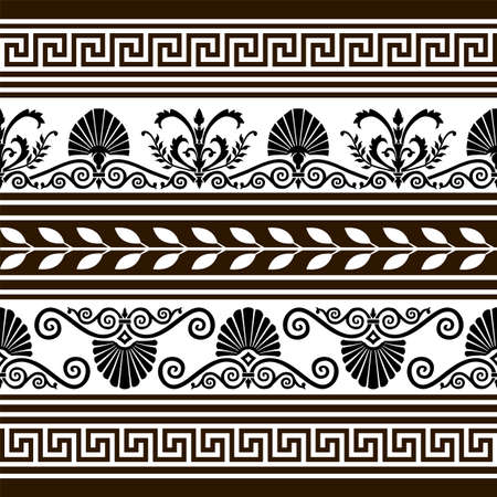 neoclassical: Set of  antique vector elements and borders Illustration