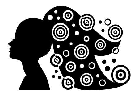 Woman silhouette with long hair and abstract elements