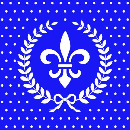Fleur de lis design element in a laurel wreath Vector