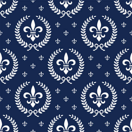Neoclassical seamless textile pattern with laurel wreath Vector
