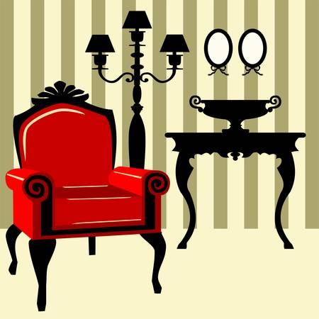 Antiguo sillón rojo con el interior