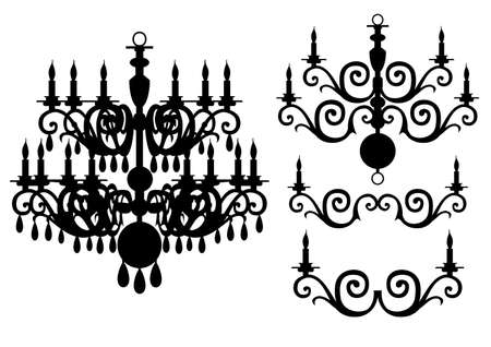 Chandelier silhouette vector set Illustration