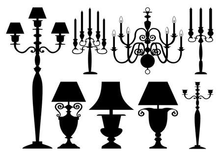 Vector lighting silhouettes collection Vector
