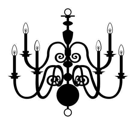 Chandelier isolated on the white background. Vector