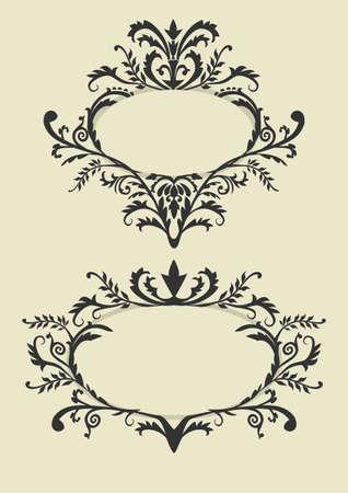 flower logo: Vintage frame