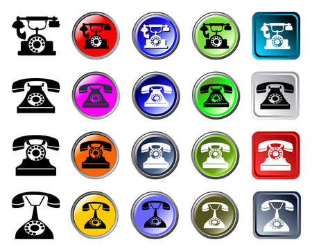 Phones icons, glossy web elements Vector