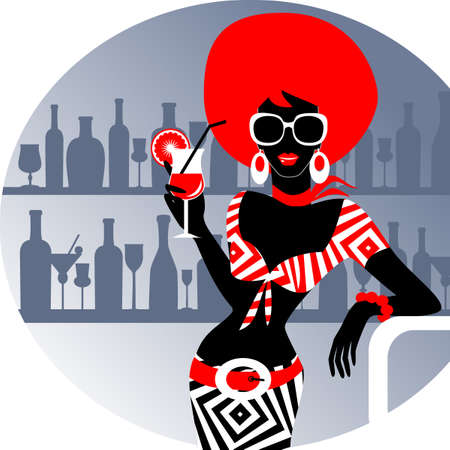 nightclub bar: Party girl with cocktail Illustration