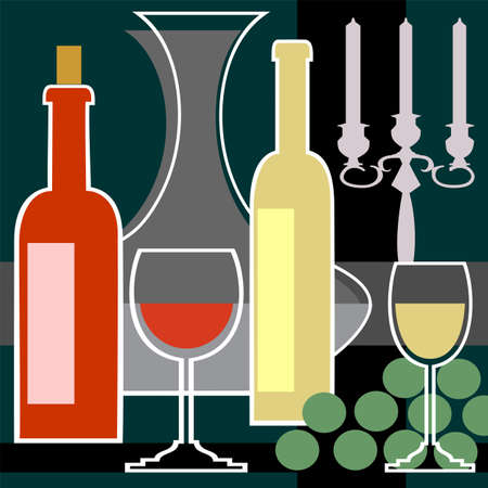dinner party: Wine bottles and glasses background