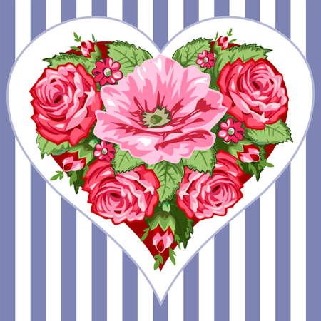 Victorian roses heart Vector