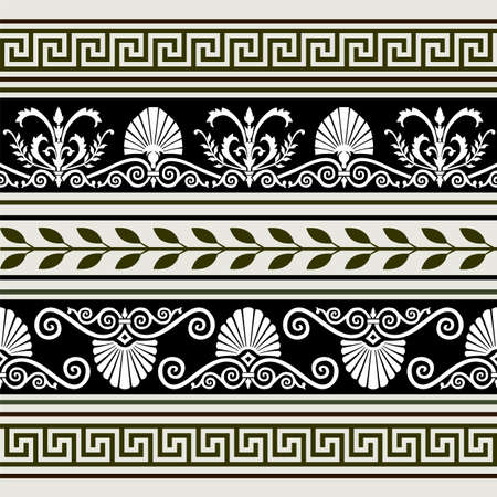 neoclassical: Set of antique borders