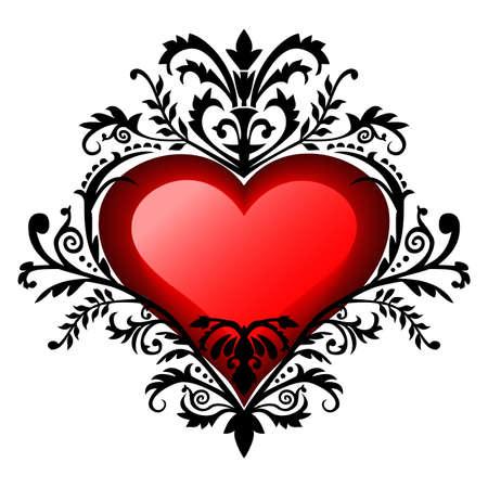 Valentines day baroque heart Illusztráció