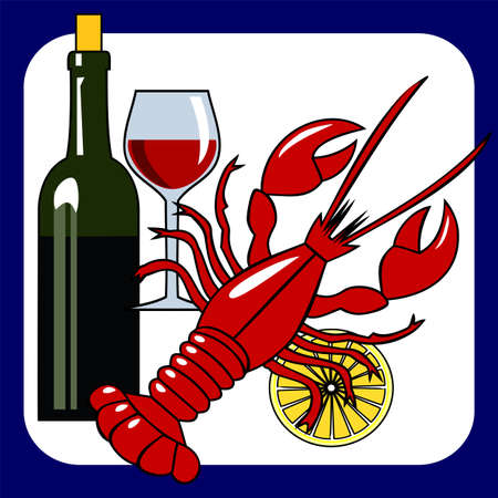 Lobster and wine Vector