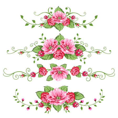 Set of roses banners Illustration