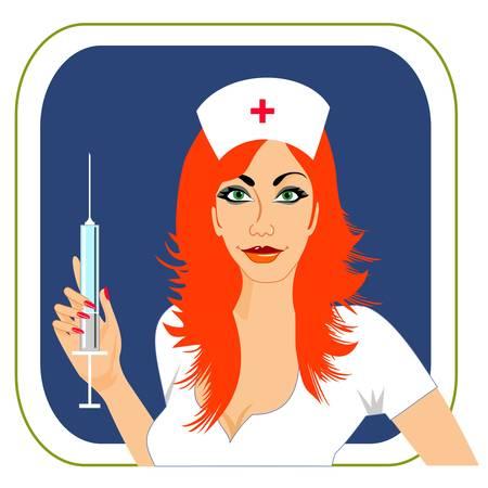 injectie: Verpleegkundige Stock Illustratie