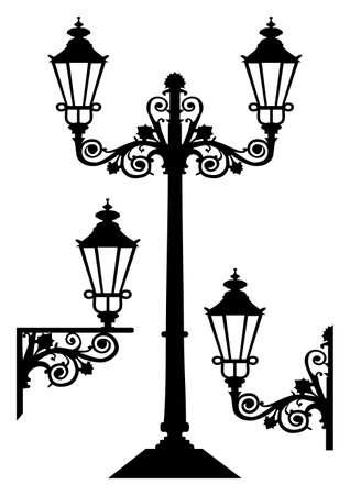 Antieke vector straatverlichting  Vector Illustratie
