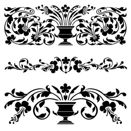 Set of vector old ornaments Vector