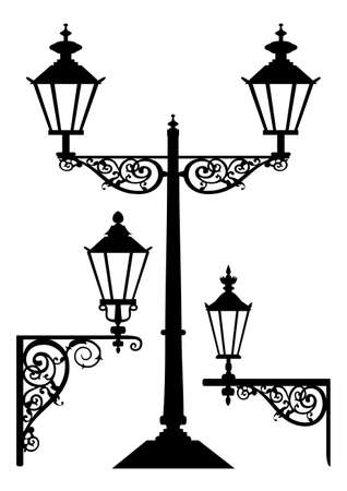 Vector retro streetlight set