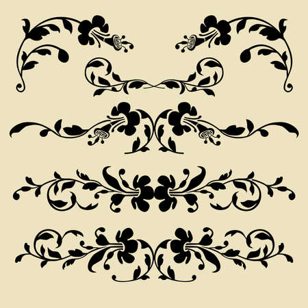 Set of baroque borders for design Vector