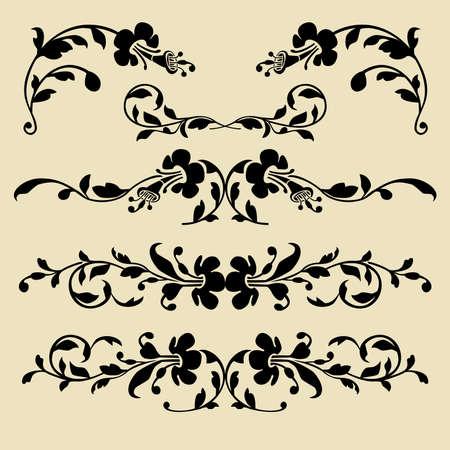 baroque border: Set of baroque borders for design
