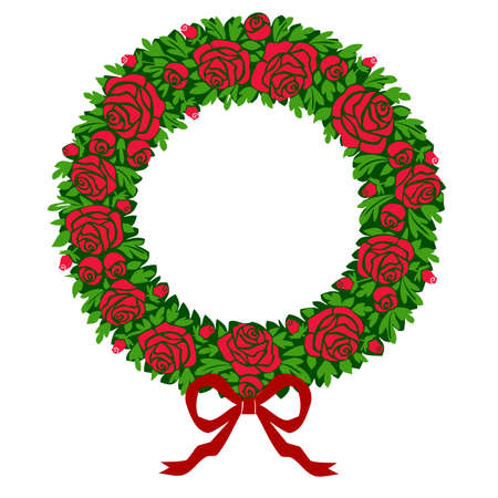 Vector red roses wreath Vector