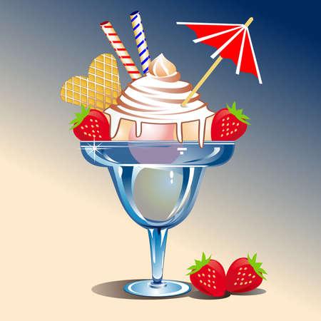 ensemble: Ice cream with strawberries