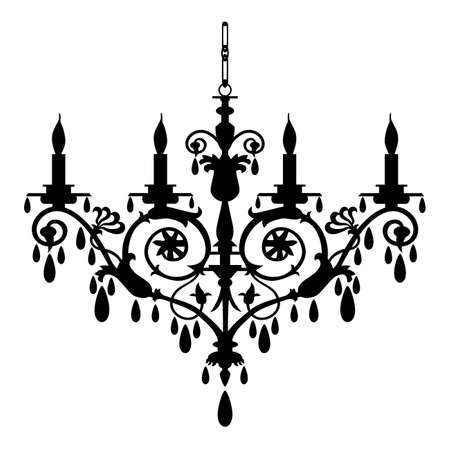 chandelier isolated: Retro chandelier silhouette Illustration