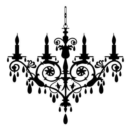 Retro chandelier silhouette Stock Vector - 5784765