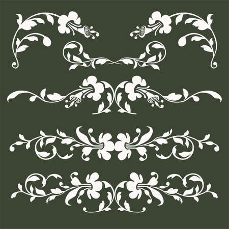 Collection of vector floral borders Vector