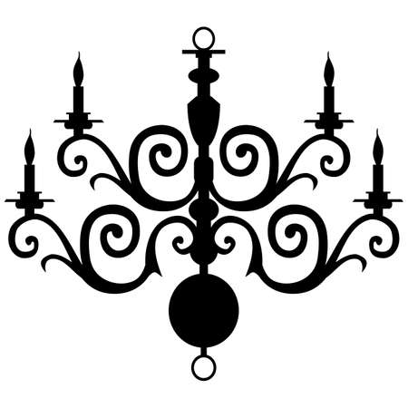 baroque room: Vector chandelier silhouette Illustration