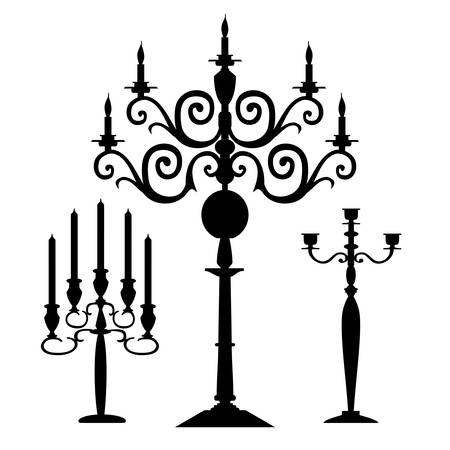 Set of vector candelabra silhouettes