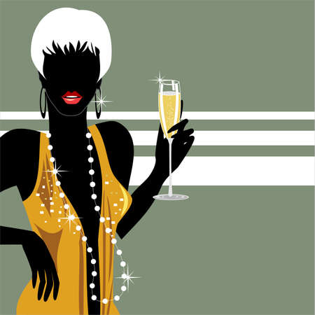 Party girl with champagne Vector