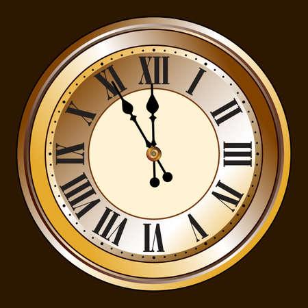 정오: 골동품 시계 일러스트