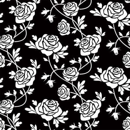 White roses at black Stock Vector - 6112052
