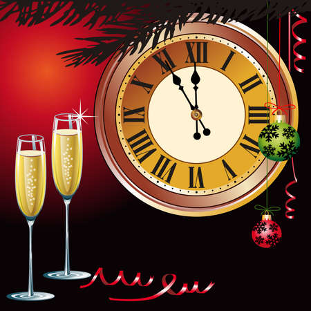 watch new year: Waiting the New Year with champagne and clock Illustration