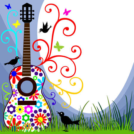 Guitar in the meadow Illustration