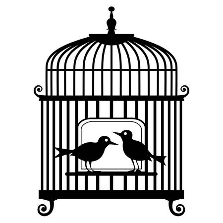 in a cage: birdcage