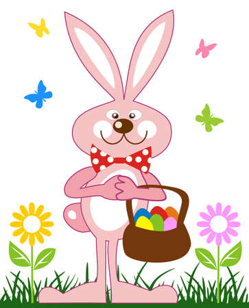 Pink rabbit with basket of easter eggs Vector