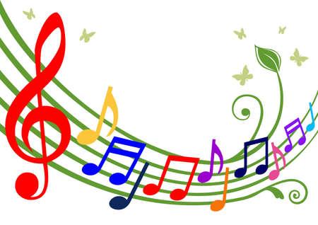 notes musicales: Notes de musique color�es
