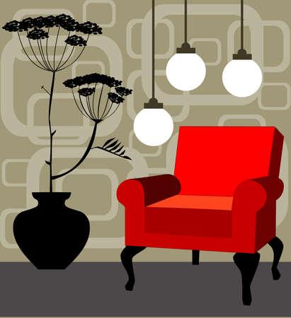 Red armchair, retro interior Vector