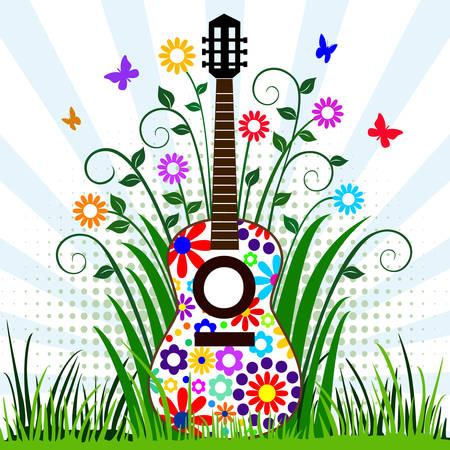 Guitar in the meadow Vector