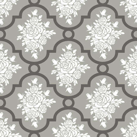 roses pattern: White roses seamless pattern