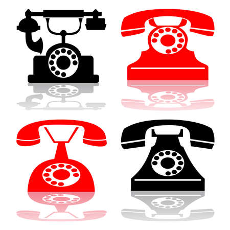 antique telephone collection Vector Illustration