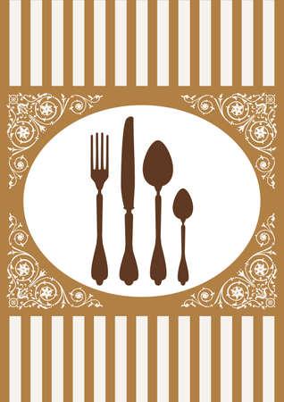 dinner setting: Men� de restaurante de tarjeta