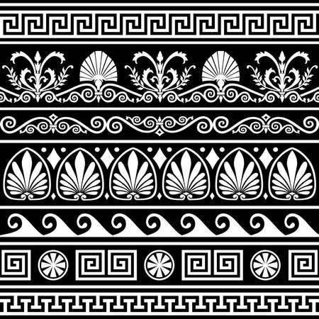 neocl�sico: Conjunto de bordes griegos antiguos en negro  Vectores